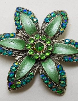Plated Large Blue and Green Flower Brooch – Vintage Costume Jewellery