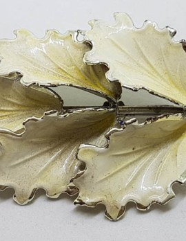 Plated Large White Leaf Brooch – Vintage Costume Jewellery