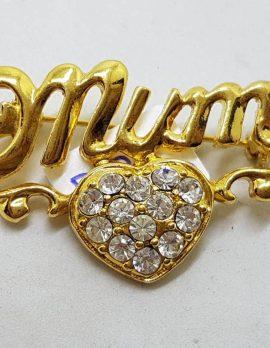 Plated Rhinestone Mum with a Heart Brooch - Vintage Costume Jewellery