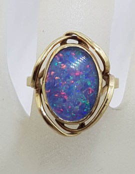 9ct Yellow Gold Blue and Multi-Colour Opal Triplet Ring - Antique / Vintage