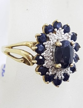 9ct Yellow Gold Oval Natural Sapphire & Diamond Cluster Ring