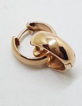 9ct Rose Gold Wide Hoop Earrings - Huggies