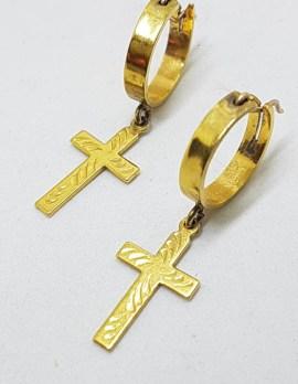 Sterling Silver With Plated Cross on Hoop Earrings - Vintage