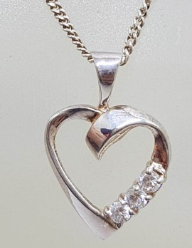 Sterling Silver Cubic Zirconia Heart Pendant on Silver Chain