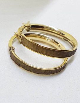 9ct Yellow Gold with Pattern Hoop Earrings