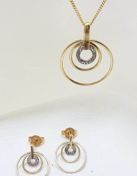 9ct Yellow Gold Diamond Circles Pendant on Gold Chain with Matching Earrings - Set
