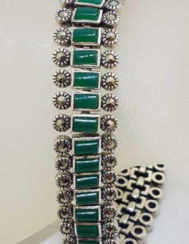 Sterling Silver Marcasite with Green Onyx / Agate Wide and Heavy Bracelet