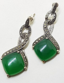 Sterling Silver Green Onyx with Marcasite Art Deco Style Drop Earrings