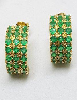Sterling Silver with Plated - Green Stones Half Hoop Huggie Style Stud Earrings