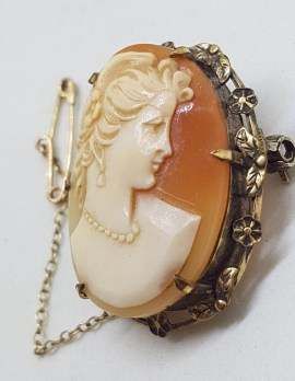 Sterling Silver and Plated Ornate Shell Cameo of Ladies Head in Ornate Floral Brooch Setting - Vintage / Antique