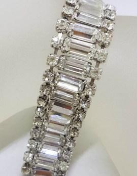 Plated Rhinestone Baguette and Round Wide Bracelet - Vintage Costume Jewellery