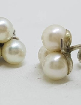 Sterling Silver Cultured Pearl Screw-On Earrings - Antique / Vintage