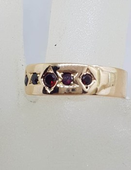 9ct Rose Gold Garnet Flat Band Ring - Gypsy Ring Style - Antique / Vintage