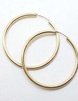 9ct Yellow Gold Large Sleeper Hoop Earrings - Fine