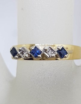 18ct Yellow Gold Natural Sapphire and Diamonds Eternity / Band Ring