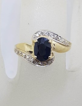 9ct Yellow Gold Natural Oval Sapphire with Diamonds Swirl Ring