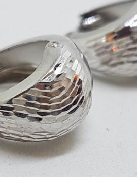 10ct White Gold Wide Hoop / Huggie Earrings with Motif / Pattern