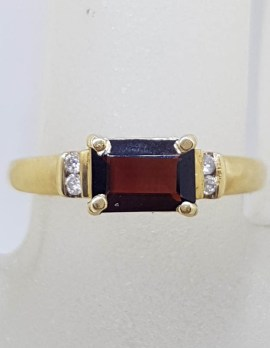 9ct Yellow Gold Claw Set Rectangular Garnet with Channel Set Diamond Ring