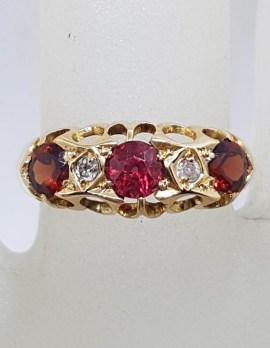 9ct Rose Gold Ornate Bridge Set Garnet with Diamond Ring - Antique / Vintage