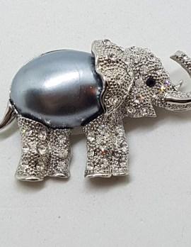 Plated Large Rhinestone and Blue / Grey Elephant Brooch – Vintage Costume Jewellery