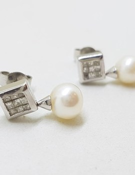 9ct White Gold Pearl with Square Diamond Cluster Drop Earrings - Stud