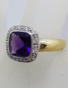 9ct Yellow Gold Square Amethyst with Diamond Surround Cluster Ring