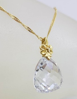 14ct Yellow Gold Crystal Drop Pendant on 9ct Yellow Gold Twist Chain