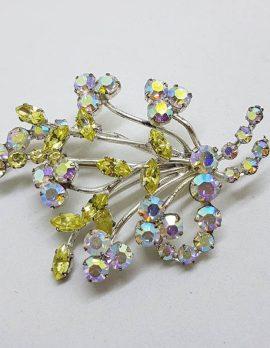 Plated Large Rhinestone Yellow and Aurora Borealis Spray Brooch – Vintage Costume Jewellery