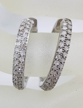 Sterling Silver Large Oval Diamond Hoop Earrings