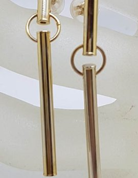 9ct Yellow Gold Very Long Line Drop Earrings