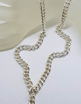 Sterling Silver Heavy Curb Link Fob Chain / T-Bar Necklace