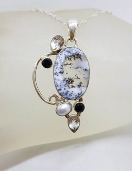 Sterling Silver Oval Dendritic Agate with Pearl and Onyx Ornate Pendant on Silver Chain