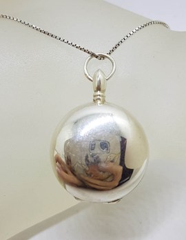 Sterling Silver Large Round Locket Pendant on Silver Chain - Vintage
