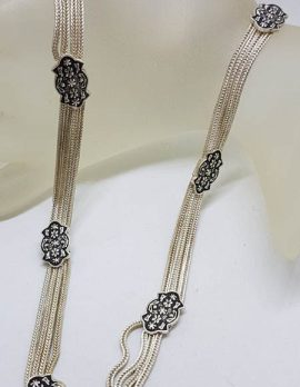 Sterling Silver Floral Design Chain Link Turkish Collier Necklace / Chain