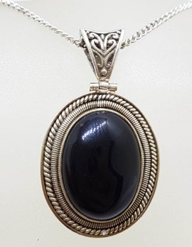 Sterling Silver Oval Onyx Pendant with Ornate Design on Silver Chain - Vintage