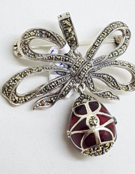 Sterling Silver Marcasite and Red Enamel Egg Drop on Ornate Bow Enhancer Pendant / Brooch