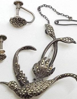 Sterling Silver Large Marcasite Bird / Phoenix Brooch and Earrings Set - Vintage