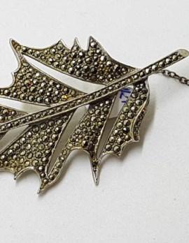 Sterling Silver Large Marcasite Leaf Brooch - Vintage