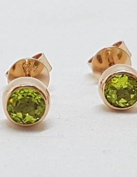 9ct Rose Gold Round Bezel Set Peridot Stud Earrings