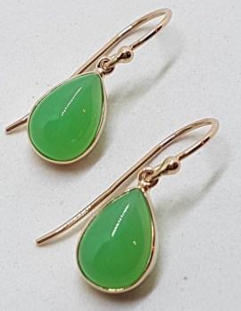 9ct Rose Gold Teardrop / Pear Shape Bezel Set Chrysoprase Drop Earrings
