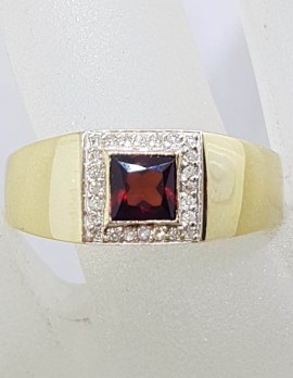 9ct Yellow Gold Square Garnet surrounded by Diamonds Gents Ring / Ladies Ring