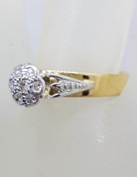 18ct Yellow Gold with Platinum Round Diamond High Set Cluster Ring - Antique / Vintage