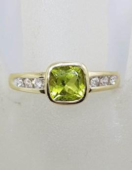 9ct Yellow Gold Square Bezel Set Peridot with Channel Set Diamonds Ring