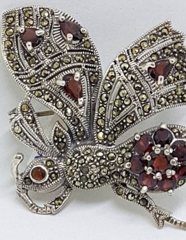 Sterling Silver Marcasite and Garnet Large Butterfly Brooch