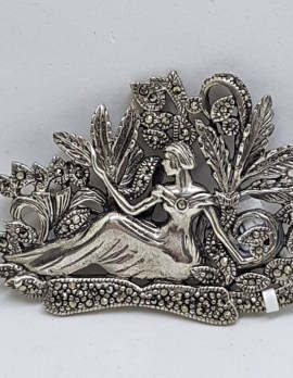 Sterling Silver and Marcasite Brooch - Ornate Nouveau Style - Lady Sitting