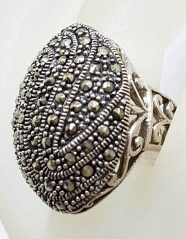 Sterling Silver Marcasite Very Large Ornate Oval Cluster with Filigree Sides Ring