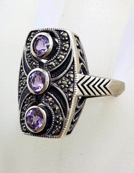 Sterling Silver Marcasite with Purple Enamel and Bezel Set Amethyst Rectangular Cluster Ring