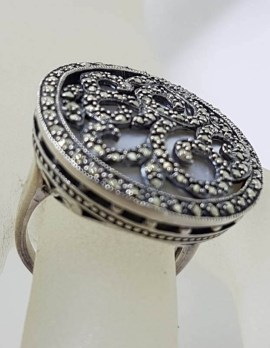 Sterling Silver Very Large Ornate Marcasite over Mother of Pearl Round Ring