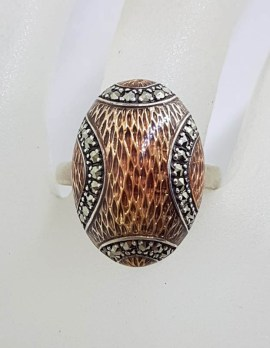 Sterling Silver Marcasite and Light Pink Enamel Oval Ring