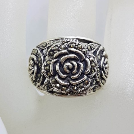 Sterling Silver Marcasite Wide Heavy Rose Flower Band Ring